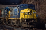 CSXT 7725 (C40-8W) leads Q296 off the old main line 